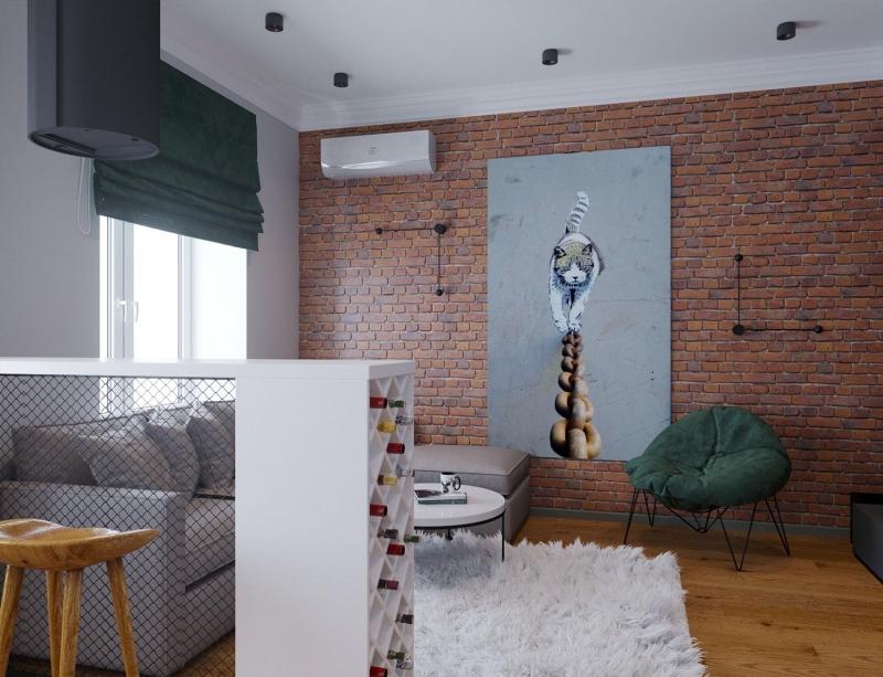 Экспресс - проект двухкомнатной квартиры с тиле лофт, г. Хабаровск, дизайн гостиной