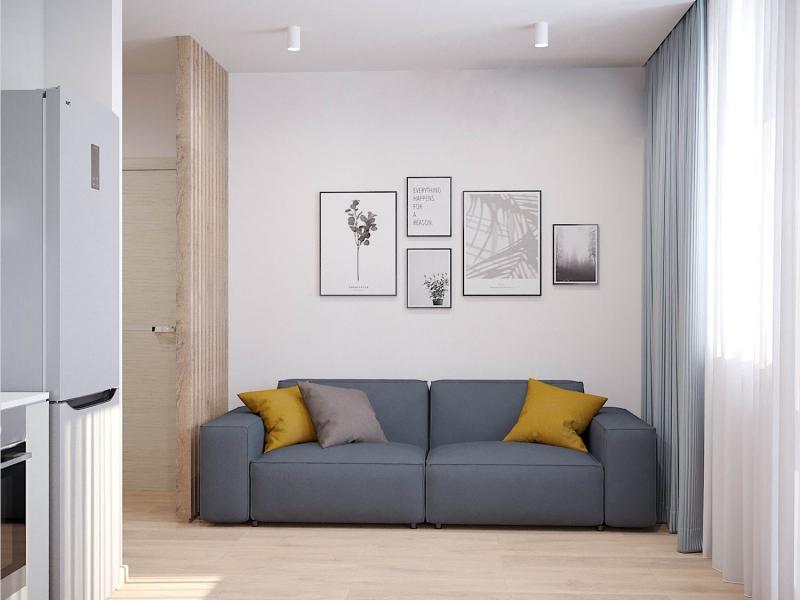 экспресс дизайн - проект однокомнатной квартиры в ЖК Riverday в г. Хабаровск, кухня - гостиная