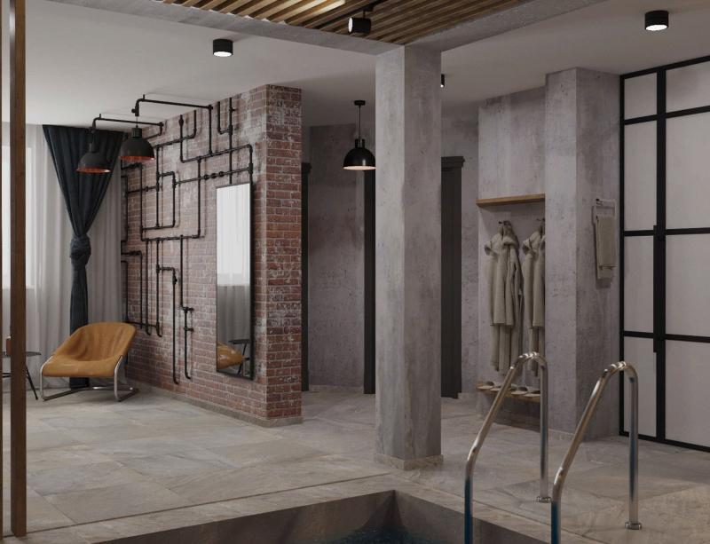 Интерьер сауны в стиле лофт, комната отдыха, дизайн- проект студии Подключ