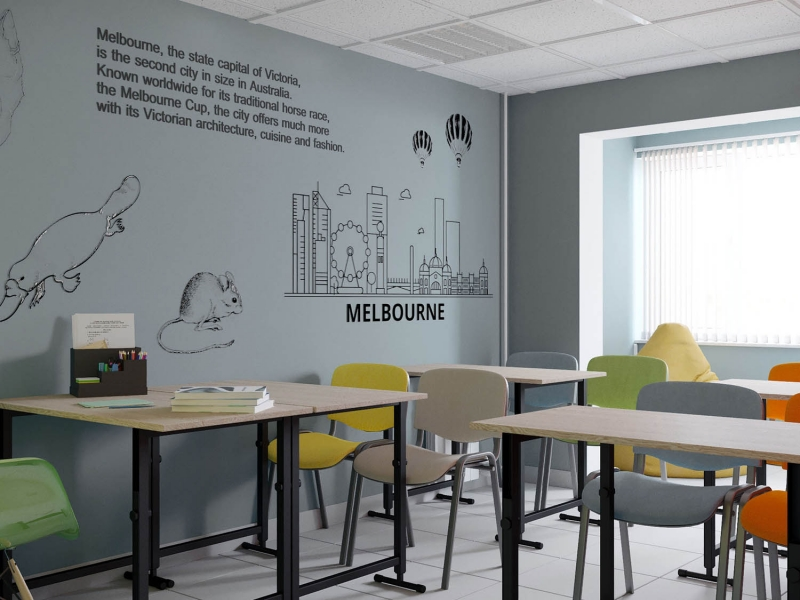 """Дизайн - проект интерьера школы иностранных языков """"Репетитор"""", дизайн класса"""