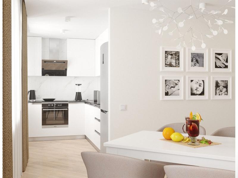 экспресс - проект трёхкомнатной квартиры в стиле модерн, дизайн кухни - гостиной