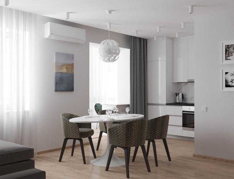 экспресс- проект в стиле Модерн, ЖК Ю-Сити, г. Хабаровск, дизайн кухни - гостиной