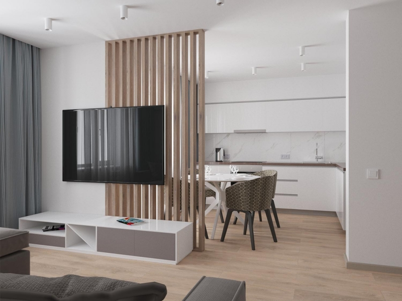 экспресс-проект в стиле модерн в ЖК Петроглиф парк, г. Хабаровск, дизайн кухни - гостиной