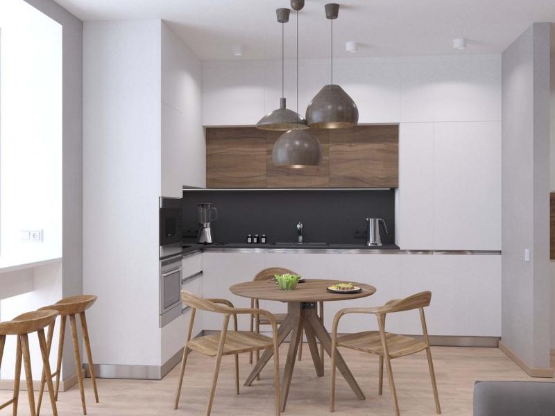 экспресс - проект квартиры в стиле Эко - Минимализм, ЖК Культура, г. Хабаровск, дизайн кухни - гостиной