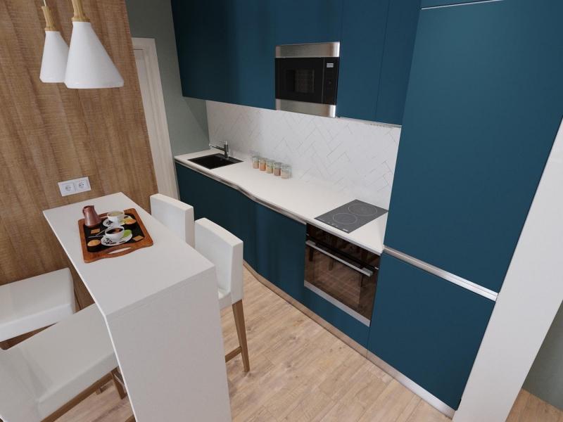 экспресс - проект квартиры в стиле функционализм, ЖК Облака, г. Хабаровск, дизайн кухни - гостиной