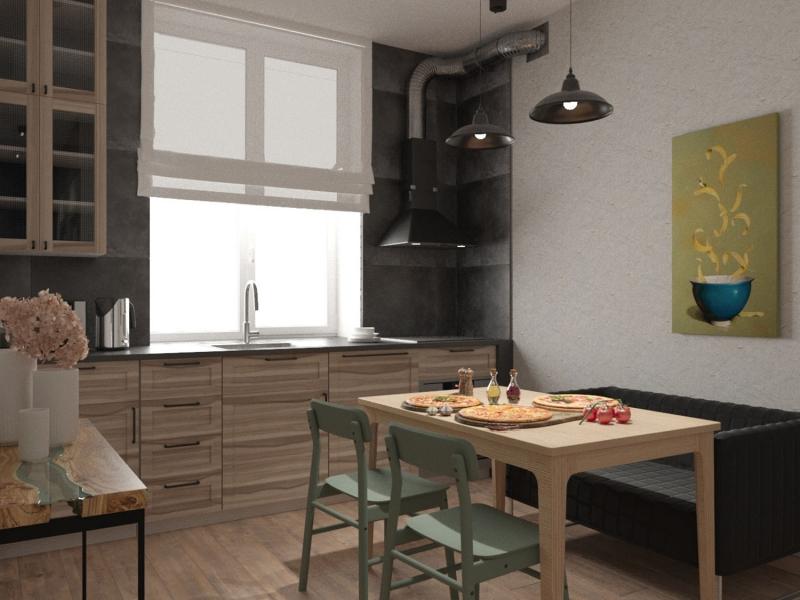 экспресс - проект квартиры в стиле лофт, г. Москва, дизайн кухни