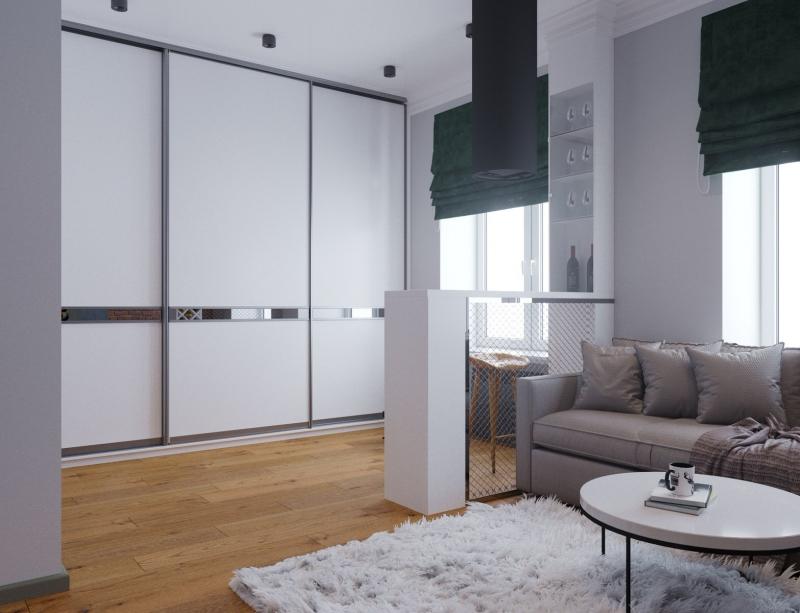 Подключ Хабаровск дизайн интерьера гостиной в стиле лофт, типовой проект, Хабаровск