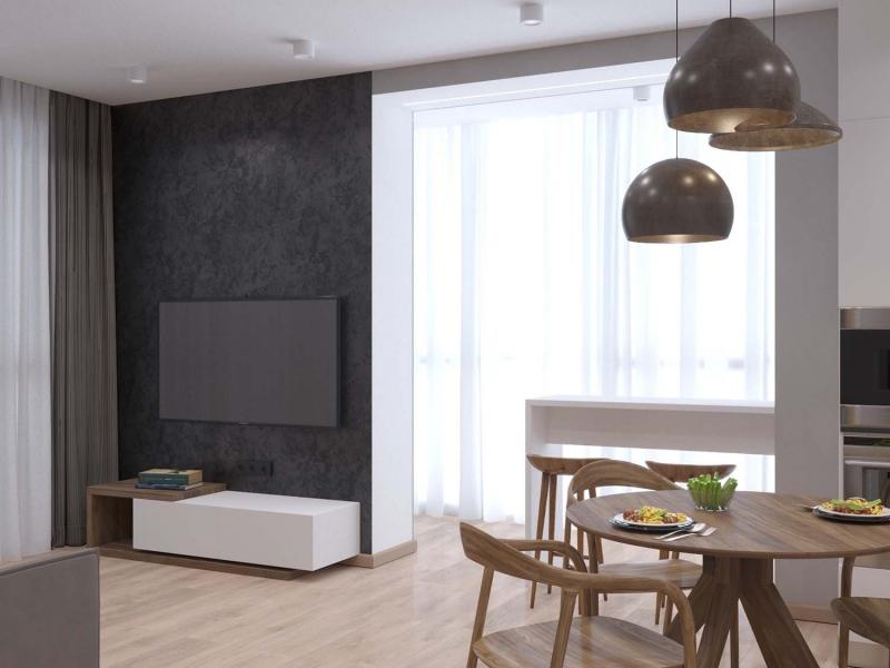 Эко-минимализм, дизайн кухни - гостиной