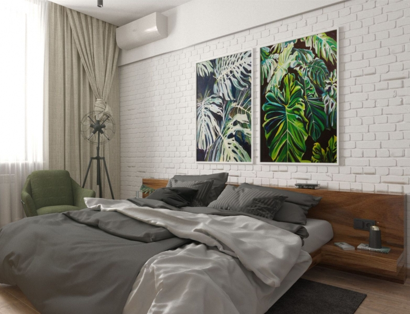 подключ Хабаровск дизайн интерьера спальни в стиле лофт